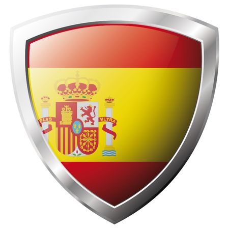 Spain flag on metal shiny shield vector illustration. Collection of flags on shield against white background. Abstract isolated object. Vector