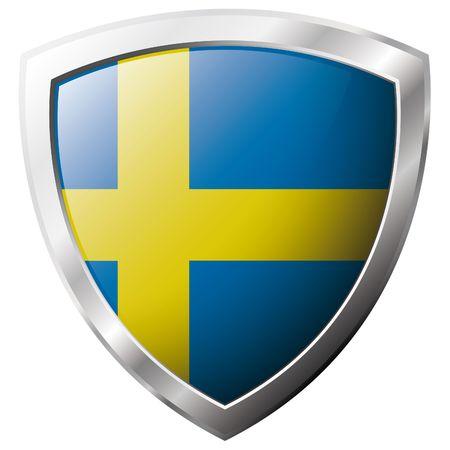 bandera de suecia: Bandera de Suecia en metal brillante escudo ilustraci�n vectorial. Colecci�n de banderas en escudo contra el fondo blanco. Objeto aislado abstracta.