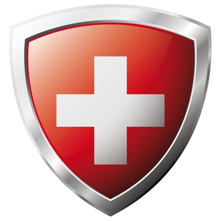 swiss flag: Swiss flag on metal shiny shield vector illustration. Collection of flags on shield against white background. Abstract isolated object. Illustration