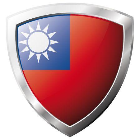Drapeau de Taïwan sur métal brillant bouclier illustration vectorielle. Collection de drapeaux sur le bouclier sur fond blanc. Abstract objet isolé.