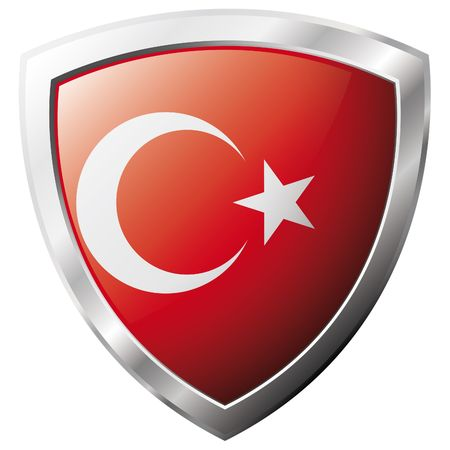 turkey flag: Turkey flag on metal shiny shield vector illustration. Collection of flags on shield against white background. Abstract isolated object.