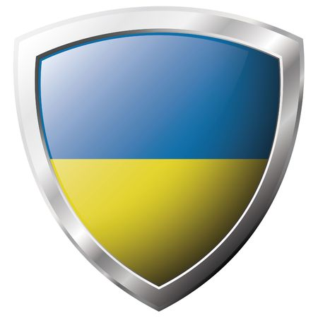Bandera de Ucrania en el metal brillante escudo ilustración vectorial. Colección de banderas en escudo contra el fondo blanco. Objeto aislado abstracta.
