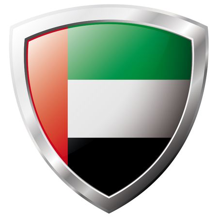 United Arab Emirates flag on metal shiny shield vector illustration. Collection of flags on shield against white background. Abstract isolated object. Stock Vector - 6905926