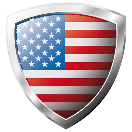 USA - america flag on metal shiny shield vector illustration. Collection of flags on shield against white background. Abstract isolated object.