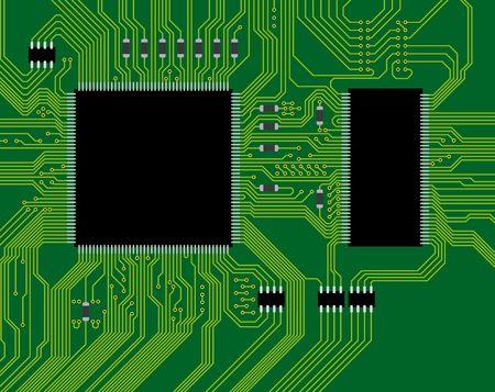 Ilustración de la placa de circuito verde. Abstraer el fondo de tecnología - ciencia próximo futuro.  Ilustración de vector