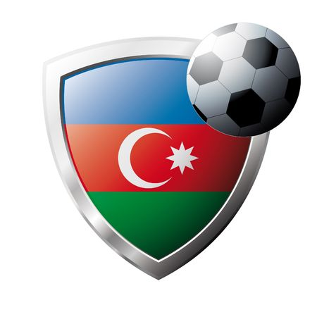 Vector illustration - abstract soccer theme - shiny metal shield isolated on white background with flag of Azerbaijan Vector