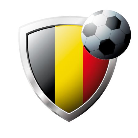 belgium flag: Vector illustration - abstract soccer theme - shiny metal shield isolated on white background with flag of Belgium