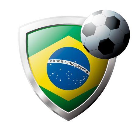 Vector illustration - abstract soccer theme - shiny metal shield isolated on white background with flag of Brazil Vector