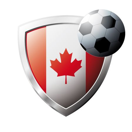 Vector illustration - abstract soccer theme - shiny metal shield isolated on white background with flag of Canada Stock Vector - 6905650