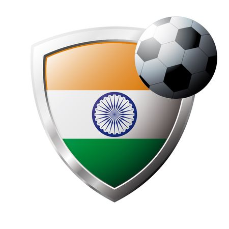 Vector illustration - abstract soccer theme - shiny metal shield isolated on white background with flag of India Vector