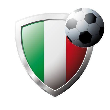 Vector illustration - abstract soccer theme - shiny metal shield isolated on white background with flag of Italy Stock Vector - 6905435