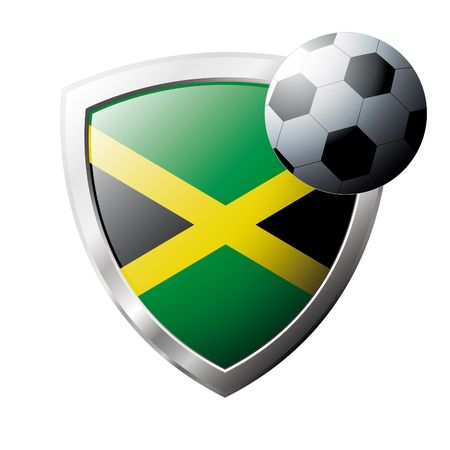 Vector illustration - abstract soccer theme - shiny metal shield isolated on white background with flag of Jamaica Vector