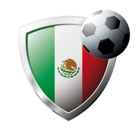 Vector illustration - abstract soccer theme - shiny metal shield isolated on white background with flag of Mexico Stock Vector - 6906153