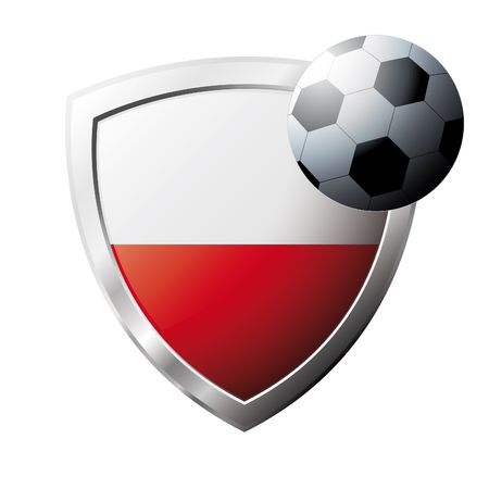 Vector illustration - abstract soccer theme - shiny metal shield isolated on white background with flag of Poland Vector