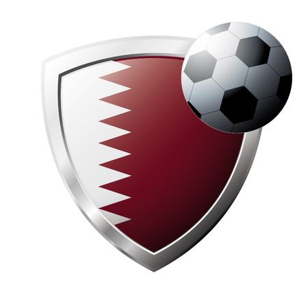 Vector illustration - abstract soccer theme - shiny metal shield isolated on white background with flag of Qatar Stock Vector - 6905649