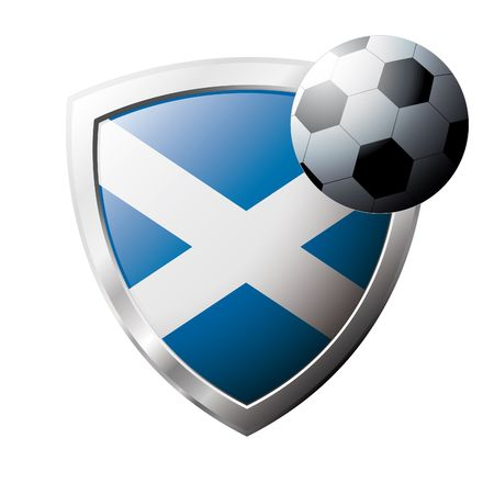 Vector illustration - abstract soccer theme - shiny metal shield isolated on white background with flag of Scotland Stock Vector - 6905748