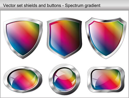 Vector illustration set. Shiny and glossy shield and button with spectrum gradient colors. Abstract objects isolated on white background. Stock Vector - 6906285