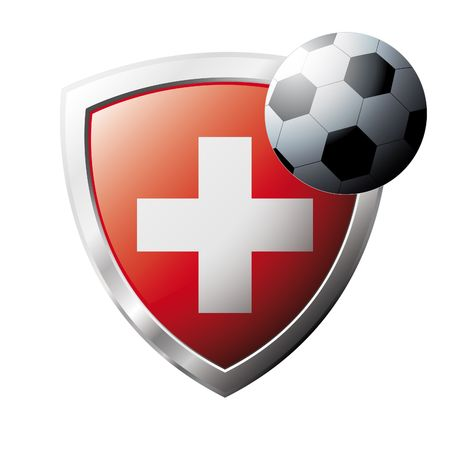 swiss flag: Vector illustration - abstract soccer theme - shiny metal shield isolated on white background with flag of Swiss