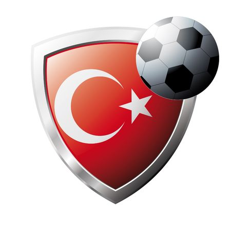 Vector illustration - abstract soccer theme - shiny metal shield isolated on white background with flag of Turkey Vector