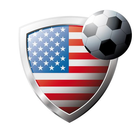 Vector illustration - abstract soccer theme - shiny metal shield isolated on white background with flag of USA America Vector