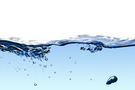 Isolated blue water splashing with bubbles and water drops - abstract blue background environmental theme