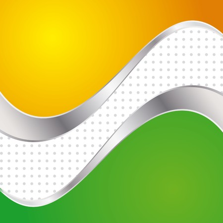 illustration colorful abstract background. Trendy yellow and green wave with metal frame. Stock Illustration - 6945489