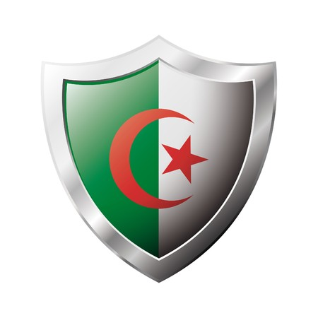 shiny metal: Algeria flag on metal shiny shield illustration. Collection of flags on shield against white background. Abstract isolated object. Stock Photo
