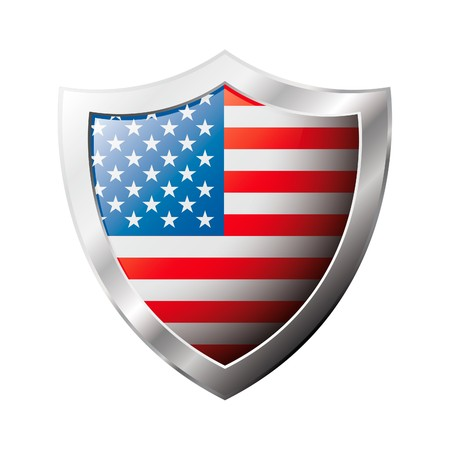 America USA flag on metal shiny shield illustration. Collection of flags on shield against white background. Abstract isolated object. illustration