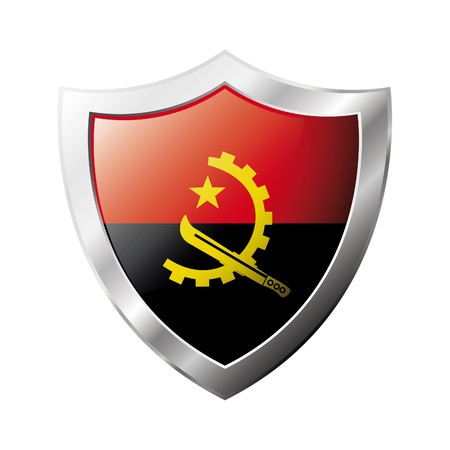 Angola flag on metal shiny shield  illustration. Collection of flags on shield against white background. Abstract isolated object. illustration