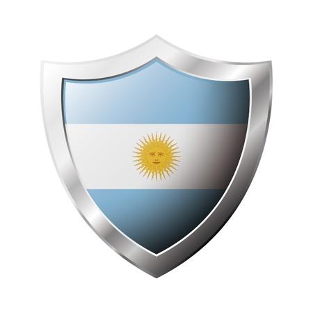 flag of argentina: Bandera de Argentina en el metal brillante escudo ilustraci�n. Colecci�n de banderas en el escudo contra el fondo blanco. Objeto aislado abstracta. Foto de archivo