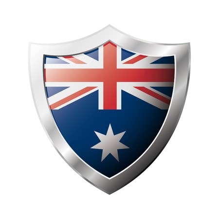 Australia flag on metal shiny shield  illustration. Collection of flags on shield against white background. Abstract isolated object. Stock Illustration - 6945817