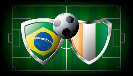 Brazil versus Cote d I voire abstract illustration isolated on white background. Soccer match in South Africa 2010. Shiny football shield of flag Brazil versus Cote d I voire illustration
