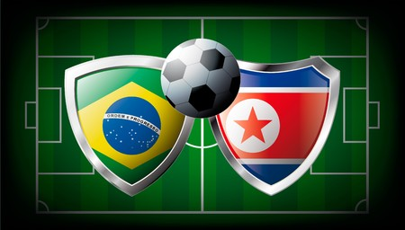 Brazil versus Korea DPR abstract illustration isolated on white background. Soccer match in South Africa 2010. Shiny football shield of flag Brazil versus Korea DPR illustration