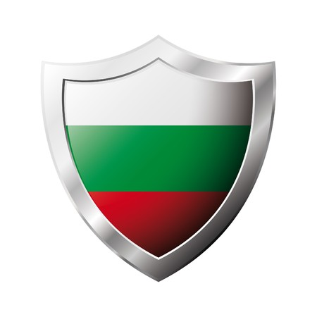 Bulgaria flag on metal shiny shield illustration. Collection of flags on shield against white background. Abstract isolated object. illustration