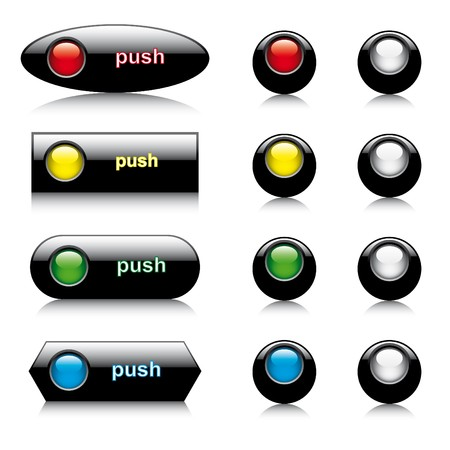 illustration set of abstract shiny buttons for web and computers application. Colorful collection isolated on white background.