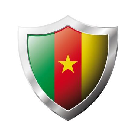 cameroon: Bandiera Camerun sul metallo lucido scudo illustrazione. Insieme di flag su scudo contro lo sfondo bianco. Oggetto isolato astratto.  Archivio Fotografico