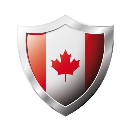 Canada flag on metal shiny shield  illustration. Collection of flags on shield against white background. Abstract isolated object. Stock Illustration - 6945726