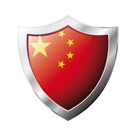 China flag on metal shiny shield  illustration. Collection of flags on shield against white background. Abstract isolated object. Stock Illustration - 6945735