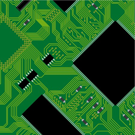 Green circuit board  illustration. Abstract technology background - next science future. illustration
