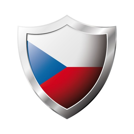 Czech flag on metal shiny shield  illustration. Collection of flags on shield against white background. Abstract isolated object. illustration