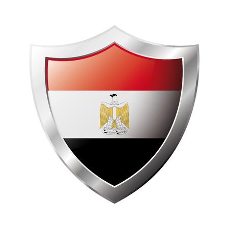 bandera de egipto: Bandera de Egipto en el metal brillante escudo ilustraci�n. Colecci�n de banderas en escudo contra el fondo blanco. Objeto aislado abstracta.  Foto de archivo