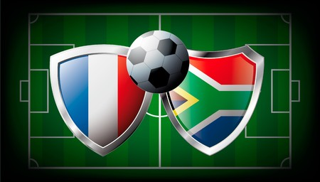 France versus South Africa abstract  illustration isolated on white background. Soccer match in South Africa 2010. Shiny football shield of flag France versus South Africa Stock Illustration - 6943658