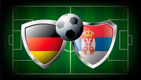 Germany versus Serbia abstract  illustration isolated on white background. Soccer match in South Africa 2010. Shiny football shield of flag Germany versus Serbia illustration