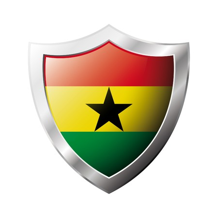 ghana: Ghana flag on metal shiny shield  illustration. Collection of flags on shield against white background. Abstract isolated object. Stock Photo
