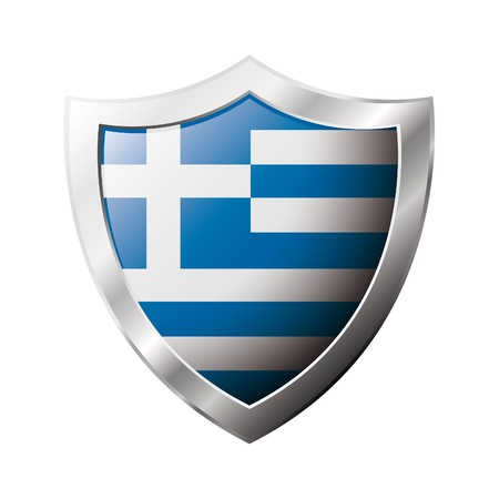 Greece flag on metal shiny shield  illustration. Collection of flags on shield against white background. Abstract isolated object. illustration