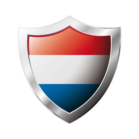 drapeau hollande: Drapeau de la Hollande sur m�tal brillant bouclier illustration. Collection de drapeaux sur le bouclier sur fond blanc. Abstract objet isol�.