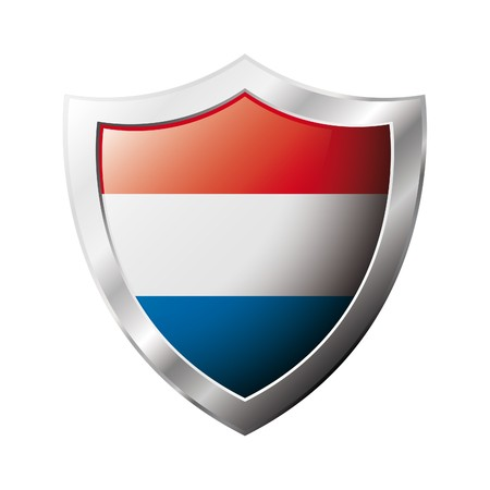 Holland flag on metal shiny shield  illustration. Collection of flags on shield against white background. Abstract isolated object. illustration