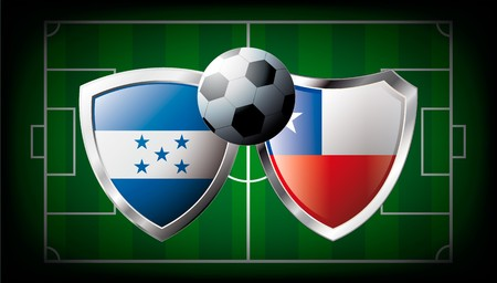flag of honduras: Honduras versus Chile abstract  illustration isolated on white background. Soccer match in South Africa 2010. Shiny football shield of flag Honduras versus Chile Stock Photo