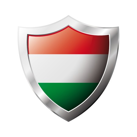 Hungary flag on metal shiny shield illustration. Collection of flags on shield against white background. Abstract isolated object. illustration