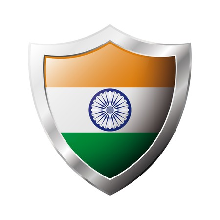 India flag on metal shiny shield  illustration. Collection of flags on shield against white background. Abstract isolated object. illustration